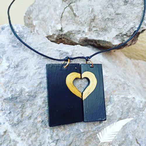 kolie apo tsimento zwgrafismeno gold heart